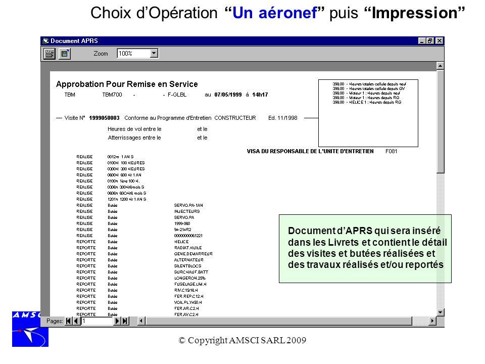 © Copyright AMSCI SARL 2009 Choix dOpération Un aéronef puis Impression Document dAPRS qui sera inséré dans les Livrets et contient le détail des visi