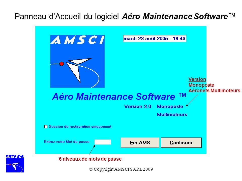 © Copyright AMSCI SARL 2009 Des Programmes dEntretien génériques peuvent être définis pour chaque famille daéronef.