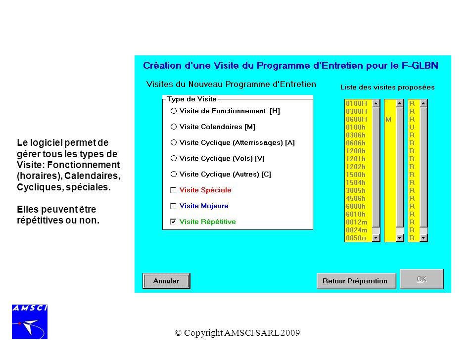 © Copyright AMSCI SARL 2009 Le logiciel permet de gérer tous les types de Visite: Fonctionnement (horaires), Calendaires, Cycliques, spéciales. Elles