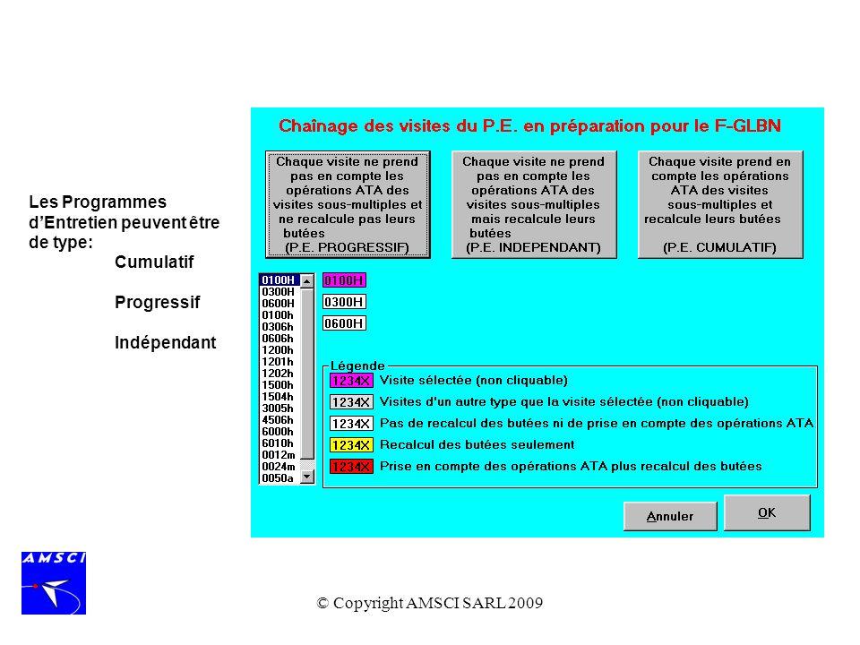 © Copyright AMSCI SARL 2009 Les Programmes dEntretien peuvent être de type: Cumulatif Progressif Indépendant