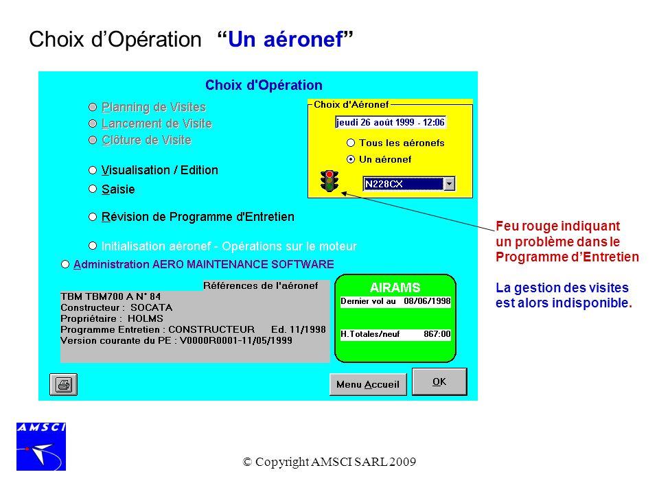 © Copyright AMSCI SARL 2009 La saisie des Heures de Vol peut être globale ou détaillée : à noter quen cas denregistrement détaillé, le logiciel fournit une aide pour la détection derreur.
