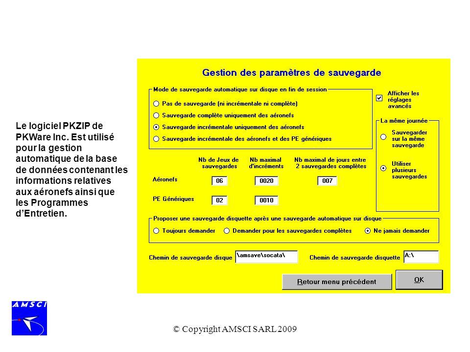 © Copyright AMSCI SARL 2009 Le logiciel PKZIP de PKWare Inc. Est utilisé pour la gestion automatique de la base de données contenant les informations