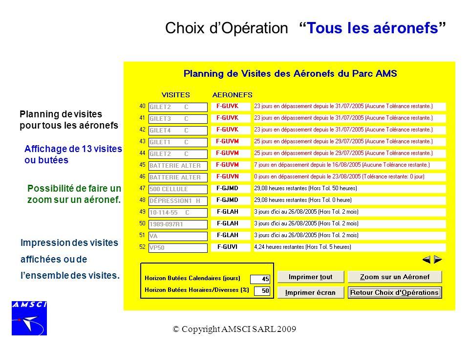 © Copyright AMSCI SARL 2009 Plusieurs options permettent de lister les informations relatives au Programme dEntretien qui sont contenues dans al base de données de laéronef.