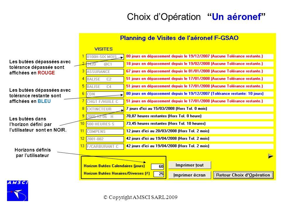 © Copyright AMSCI SARL 2009 En choisissant une option de Butées, toutes celles qui ont déjà été enregistrées sont affichées.