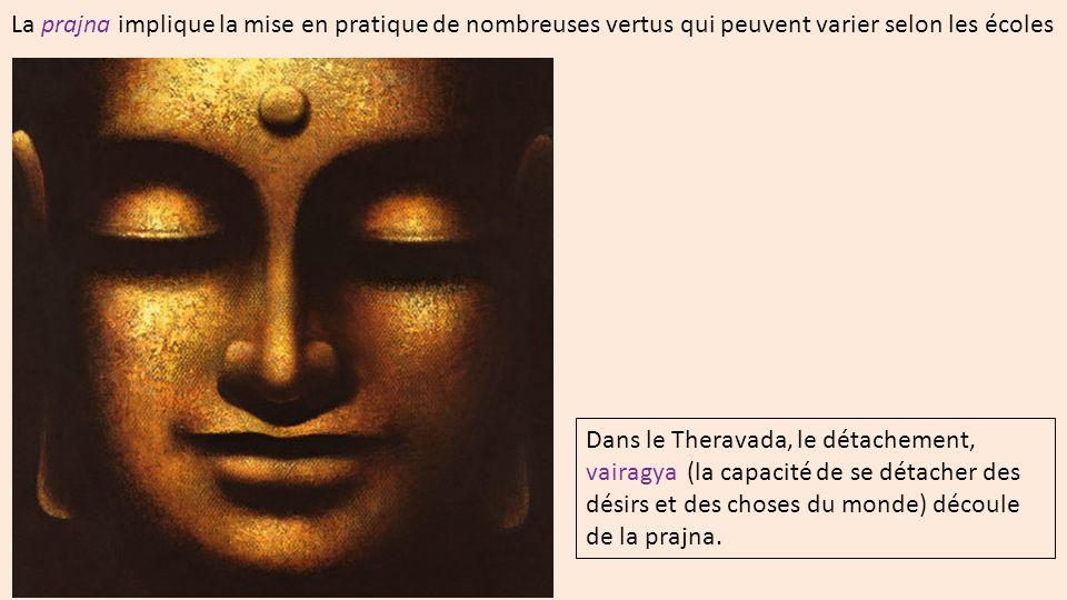 Dans le Theravada, le détachement, vairagya (la capacité de se détacher des désirs et des choses du monde) découle de la prajna.