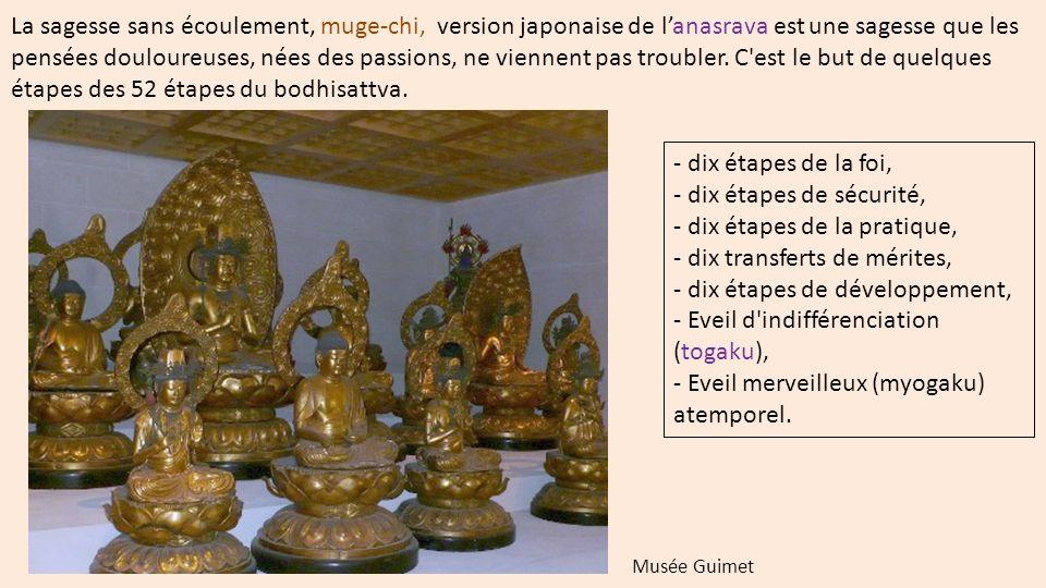 La sagesse sans écoulement, muge-chi, version japonaise de lanasrava est une sagesse que les pensées douloureuses, nées des passions, ne viennent pas troubler.