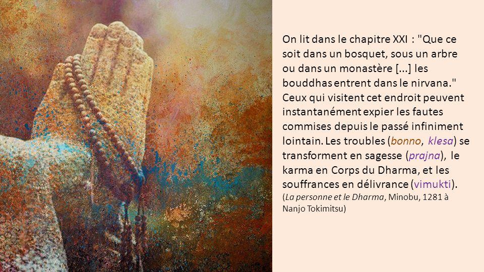 On lit dans le chapitre XXI : Que ce soit dans un bosquet, sous un arbre ou dans un monastère [...] les bouddhas entrent dans le nirvana. Ceux qui visitent cet endroit peuvent instantanément expier les fautes commises depuis le passé infiniment lointain.