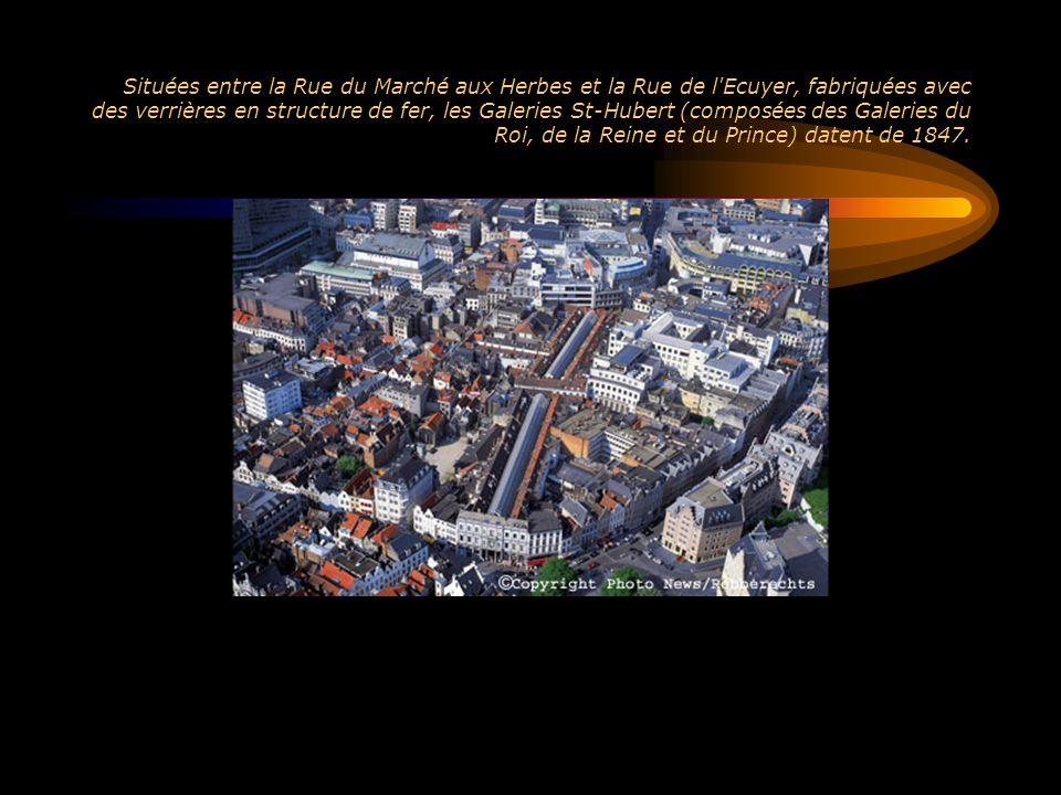 Situées entre la Rue du Marché aux Herbes et la Rue de l Ecuyer, fabriquées avec des verrières en structure de fer, les Galeries St-Hubert (composées des Galeries du Roi, de la Reine et du Prince) datent de 1847.