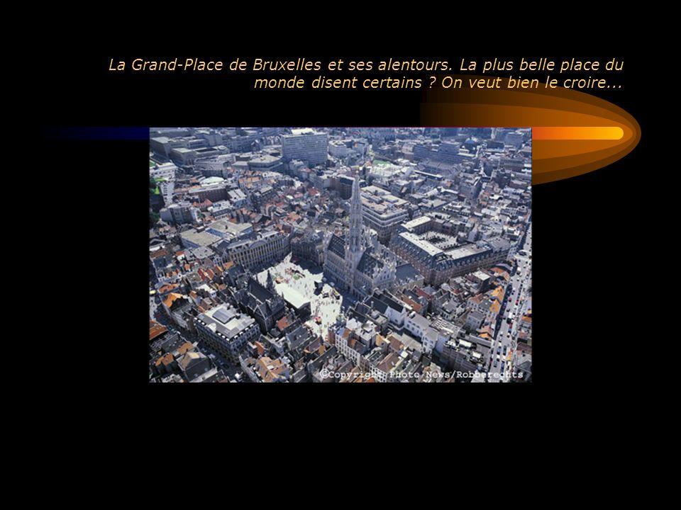 Vue aérienne de Bruxelles à partir du Sud avec les usines VW, la gare du Midi, et les hauteurs de Forest.