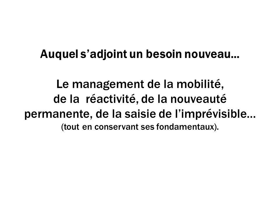 Auquel sadjoint un besoin nouveau... Le management de la mobilité, de la réactivité, de la nouveauté permanente, de la saisie de limprévisible… (tout