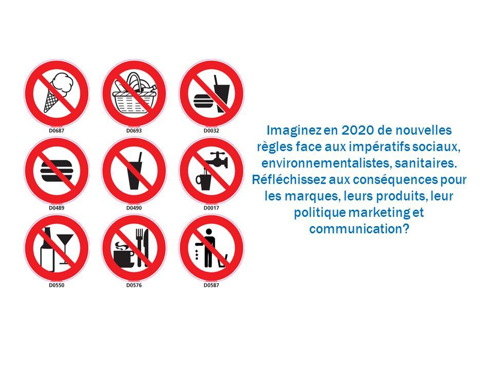 Imaginez en 2020 de nouvelles règles face aux impératifs sociaux, environnementalistes, sanitaires. Réfléchissez aux conséquences pour les marques, le