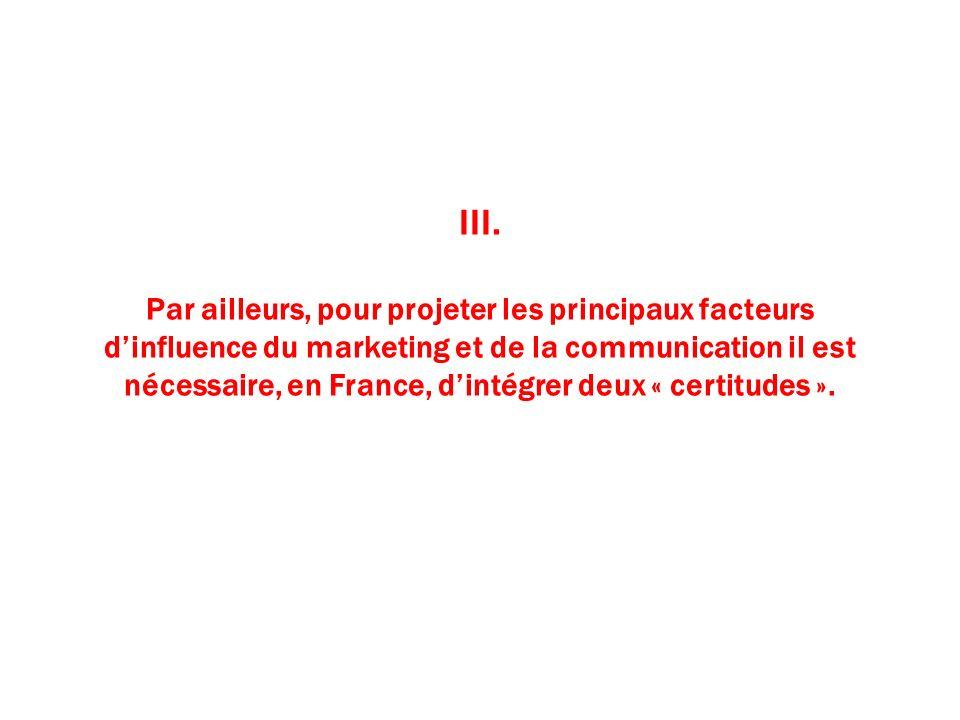 III. Par ailleurs, pour projeter les principaux facteurs dinfluence du marketing et de la communication il est nécessaire, en France, dintégrer deux «