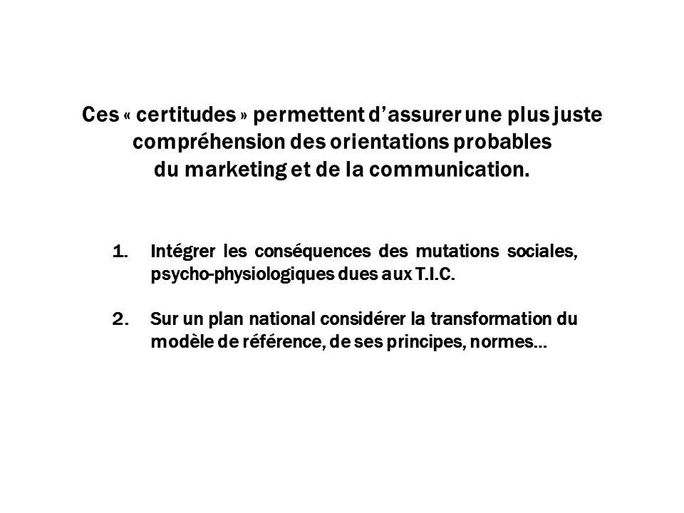 Ces « certitudes » permettent dassurer une plus juste compréhension des orientations probables du marketing et de la communication.