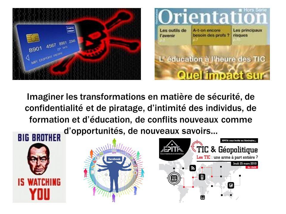 Imaginer les transformations en matière de sécurité, de confidentialité et de piratage, dintimité des individus, de formation et déducation, de conflits nouveaux comme dopportunités, de nouveaux savoirs…