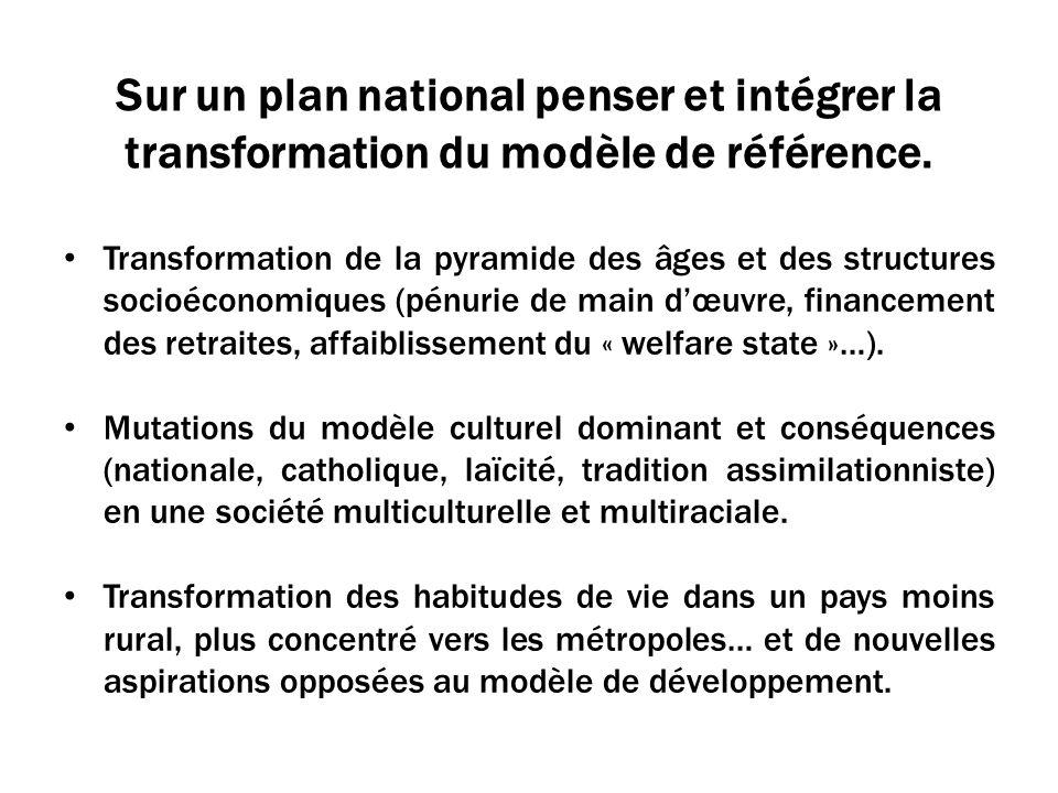 Sur un plan national penser et intégrer la transformation du modèle de référence.