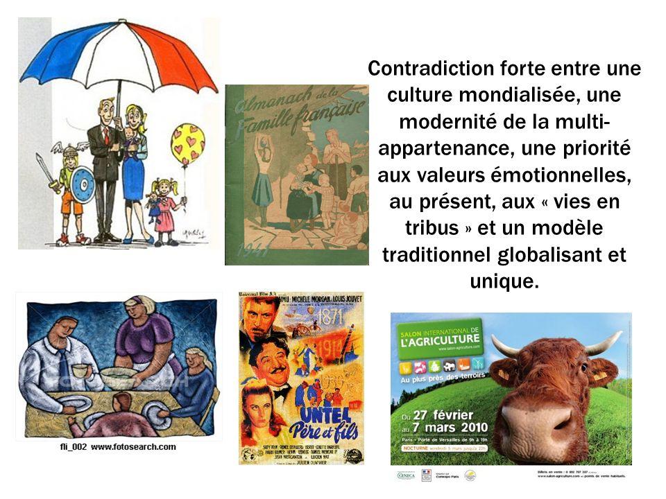 Contradiction forte entre une culture mondialisée, une modernité de la multi- appartenance, une priorité aux valeurs émotionnelles, au présent, aux « vies en tribus » et un modèle traditionnel globalisant et unique.