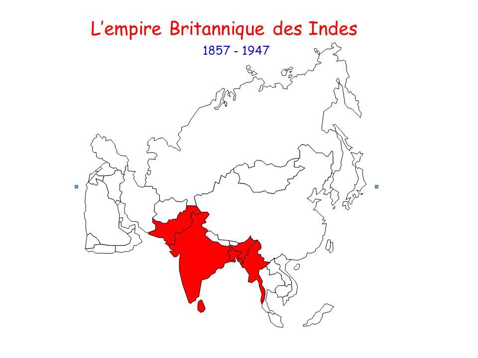 15 août 1947 Cest la fin de l Empire britannique des Indes : La partition de lEmpire britannique des Indes Linde et le Pakistan deviennent officiellement indépendants Le British Raj