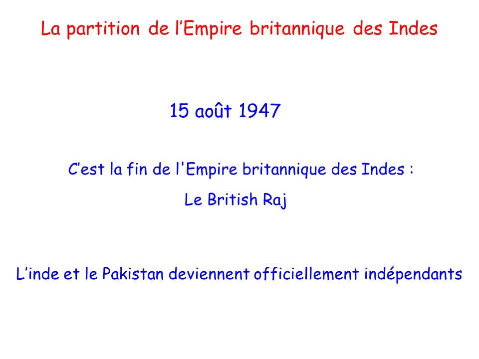 Mahatma Mohandas Gandhi (1869-1948) Jawaharlal Nehru (1889-1964) Mohammed Ali Jinnah (1876-1948) Les 3 personnages clés Président du parti du Congrès devient alors 1° ministre de lInde Gandhi, avocat de la non-violence active Président de la ligue musulmane devient le 1° gouverneur du Pakistan