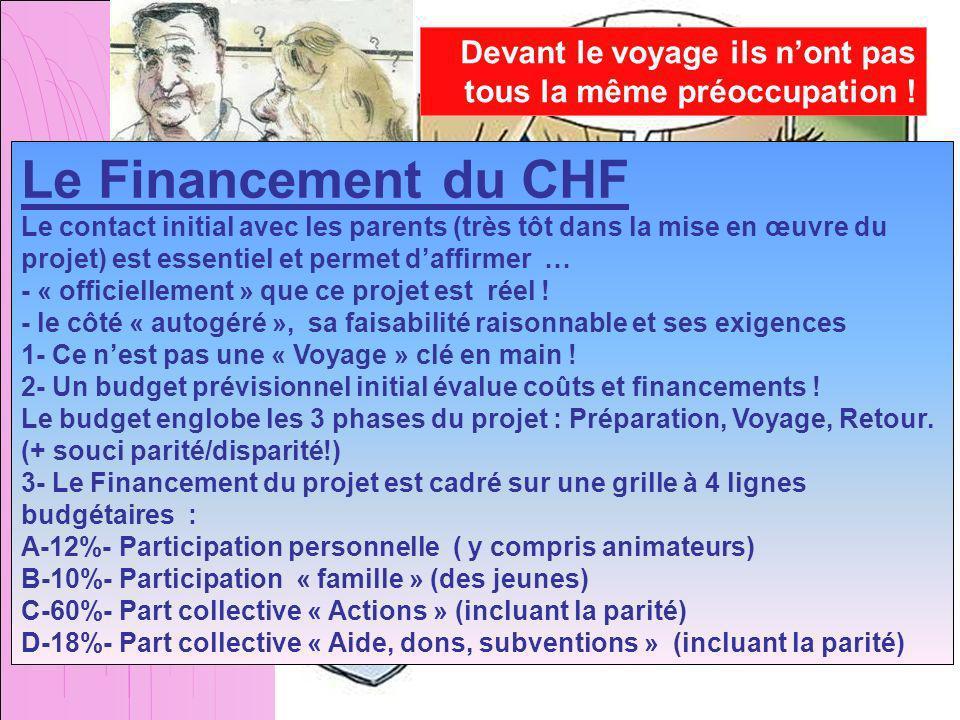 Le Financement du CHF Le contact initial avec les parents (très tôt dans la mise en œuvre du projet) est essentiel et permet daffirmer … - « officiellement » que ce projet est réel .