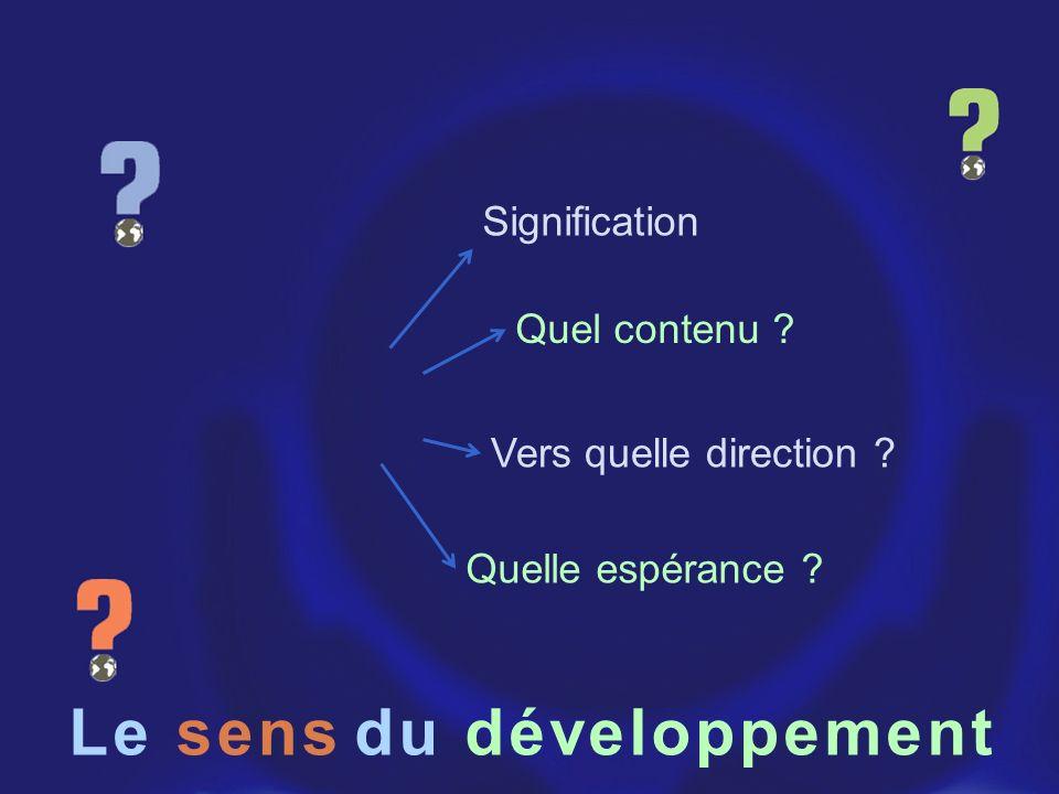 Le du développement Signification Quel contenu ? Quelle espérance ? Vers quelle direction ? sens