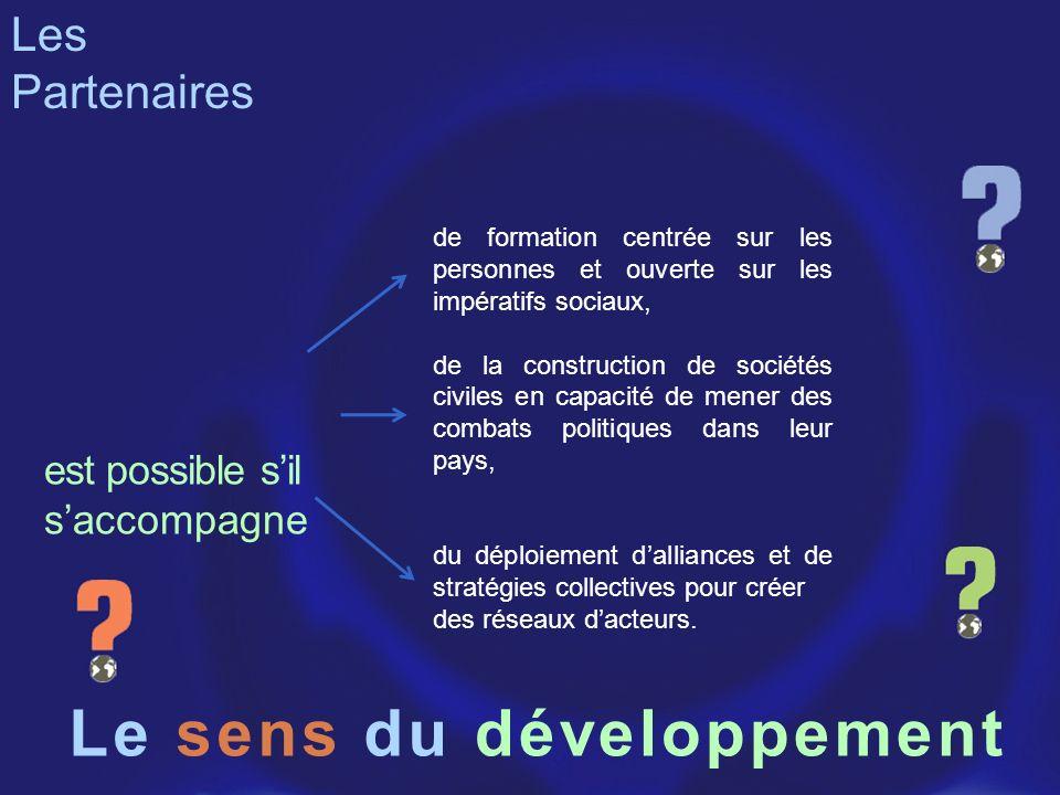 Le sens du de formation centrée sur les personnes et ouverte sur les impératifs sociaux, de la construction de sociétés civiles en capacité de mener d
