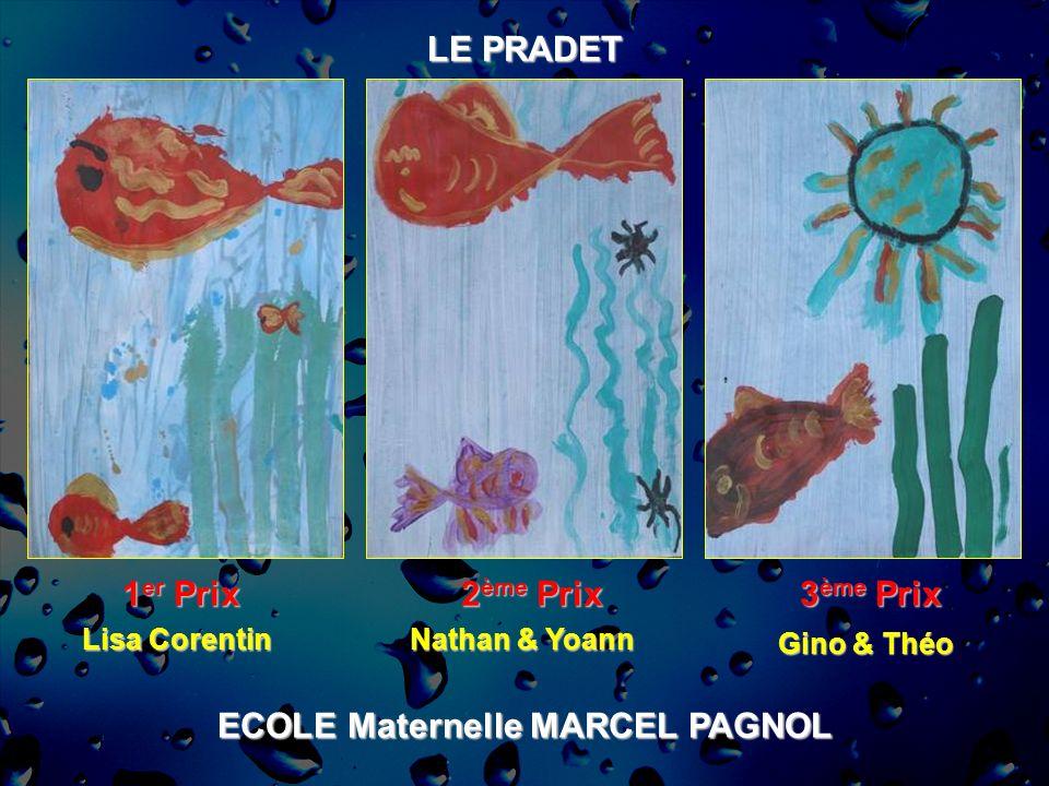 ECOLE Maternelle MARCEL PAGNOL LE PRADET 1 er Prix 2 ème Prix 3 ème Prix Lisa Corentin Nathan & Yoann Gino & Théo