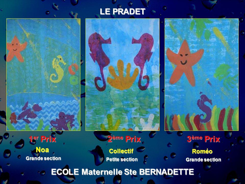 ECOLE Maternelle Ste BERNADETTE LE PRADET 1 er Prix 2 ème Prix 3 ème Prix Noa Grande section Roméo Collectif Petite section