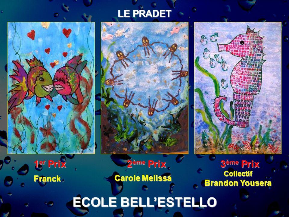 ECOLE BELLESTELLO LE PRADET 1 er Prix 2 ème Prix 3 ème Prix Collectif Brandon Yousera Carole Melissa Franck