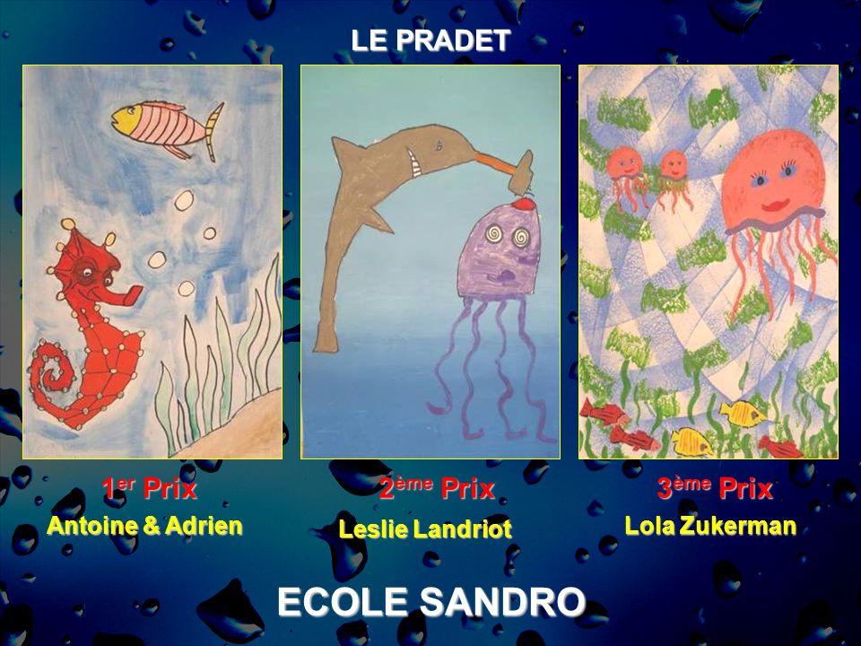 ECOLE SANDRO LE PRADET 1 er Prix 2 ème Prix 3 ème Prix Antoine & Adrien Leslie Landriot Lola Zukerman