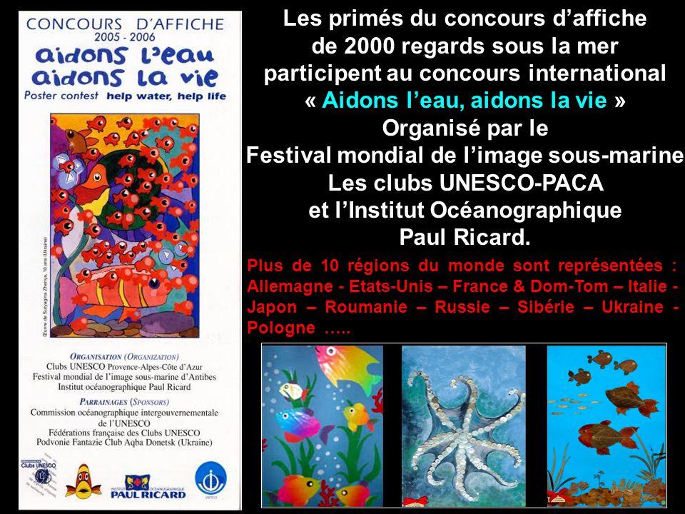 Les primés du concours daffiche de 2000 regards sous la mer participent au concours international « Aidons leau, aidons la vie » Organisé par le Festi