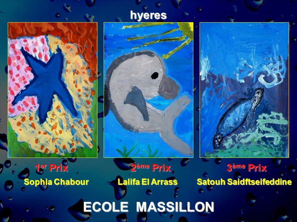 ECOLE MASSILLON hyeres 1 er Prix 2 ème Prix 3 ème Prix Sophia Chabour Lalifa El Arrass Satouh Saidftseifeddine