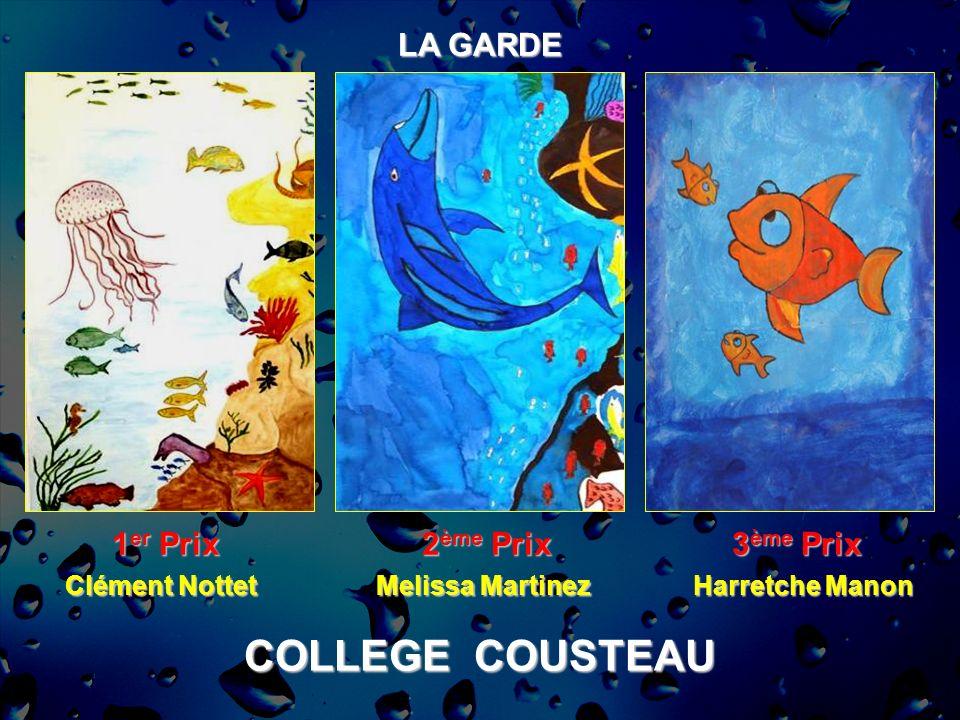 COLLEGE COUSTEAU LA GARDE 1 er Prix 2 ème Prix 3 ème Prix Harretche Manon Clément Nottet Melissa Martinez