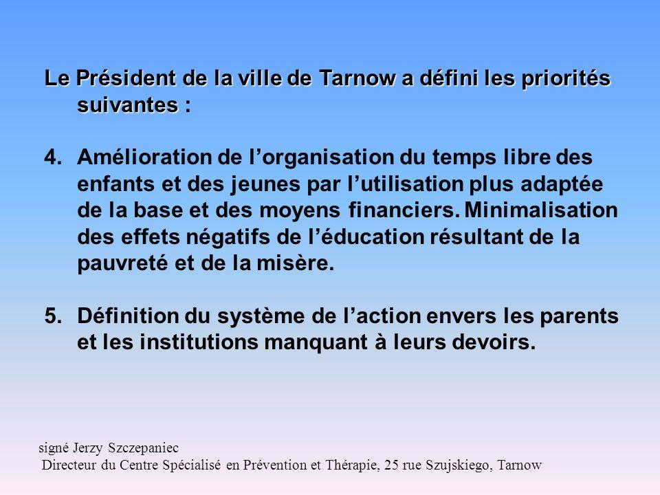 Le Président de la ville de Tarnow a défini les priorités suivantes Le Président de la ville de Tarnow a défini les priorités suivantes : 4.Amélioration de lorganisation du temps libre des enfants et des jeunes par lutilisation plus adaptée de la base et des moyens financiers.