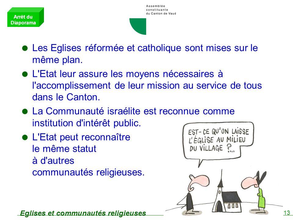 13 Eglises et communautés religieuses Les Eglises réformée et catholique sont mises sur le même plan.