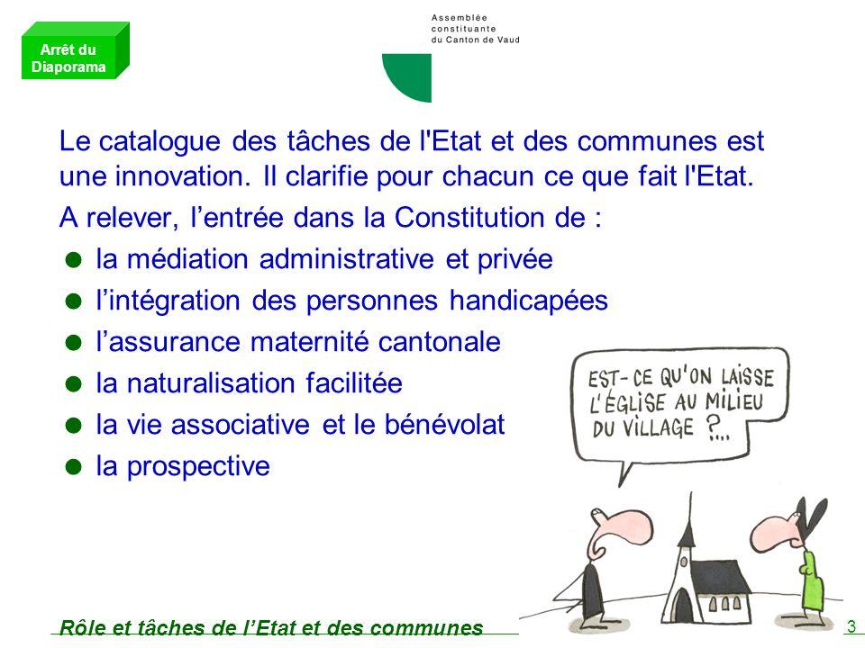 3 Rôle et tâches de lEtat et des communes Le catalogue des tâches de l Etat et des communes est une innovation.