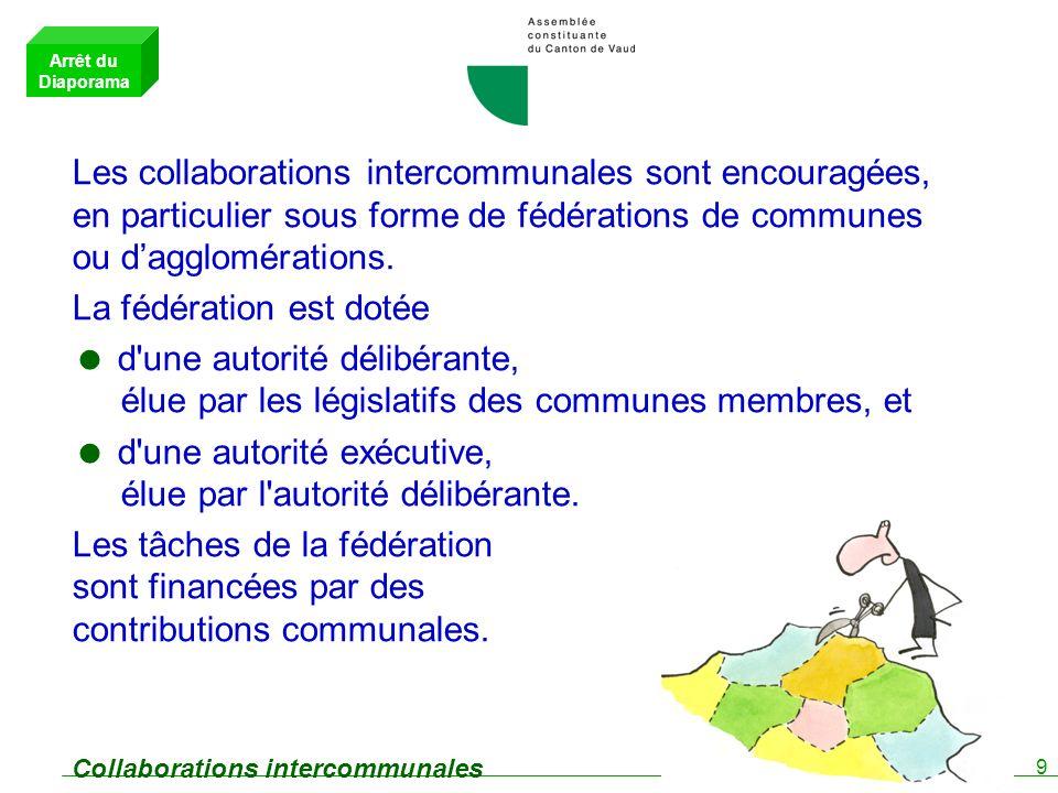 9 Collaborations intercommunales Les collaborations intercommunales sont encouragées, en particulier sous forme de fédérations de communes ou dagglomérations.