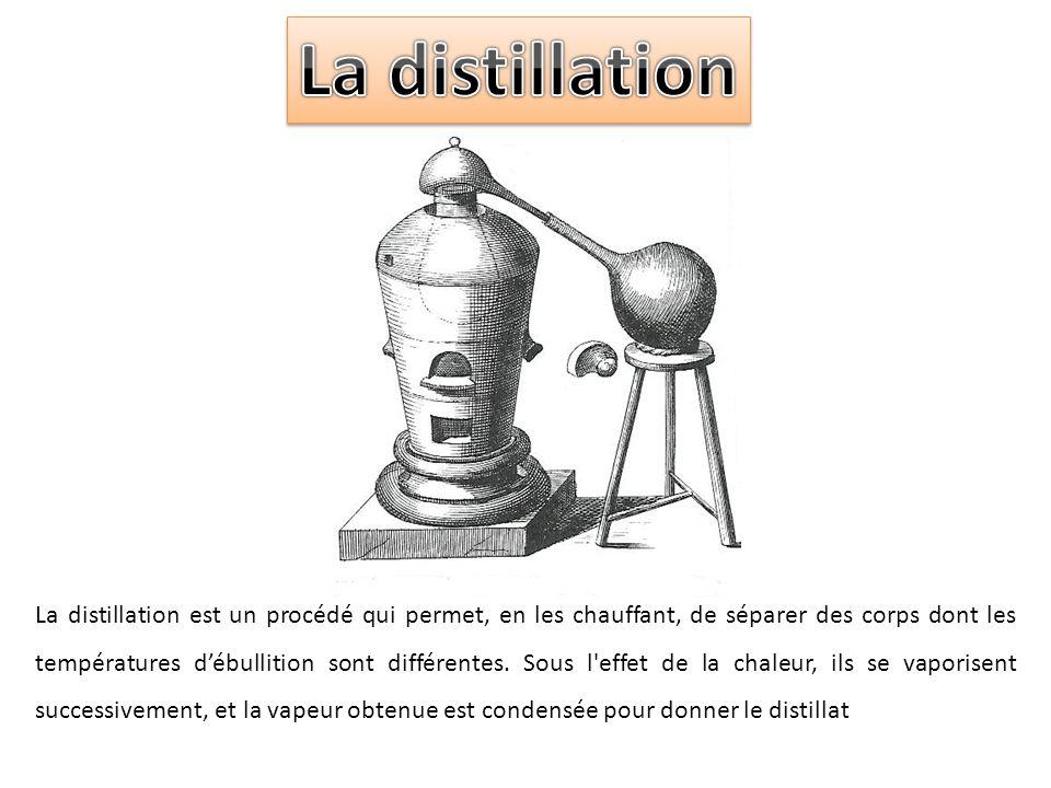 La distillation est un procédé qui permet, en les chauffant, de séparer des corps dont les températures débullition sont différentes. Sous l'effet de