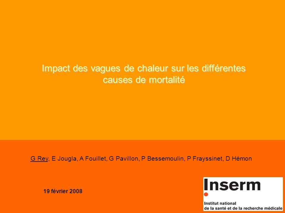 19 février 2008 Impact des vagues de chaleur sur les différentes causes de mortalité G Rey, E Jougla, A Fouillet, G Pavillon, P Bessemoulin, P Frayssi