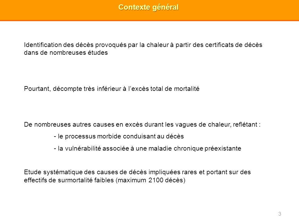 4 Objectifs généraux 1) Identification des vagues de chaleur majeures de 1971 à 2003 en France métropolitaine 2) Analyse de la surmortalité par cause médicale de décès