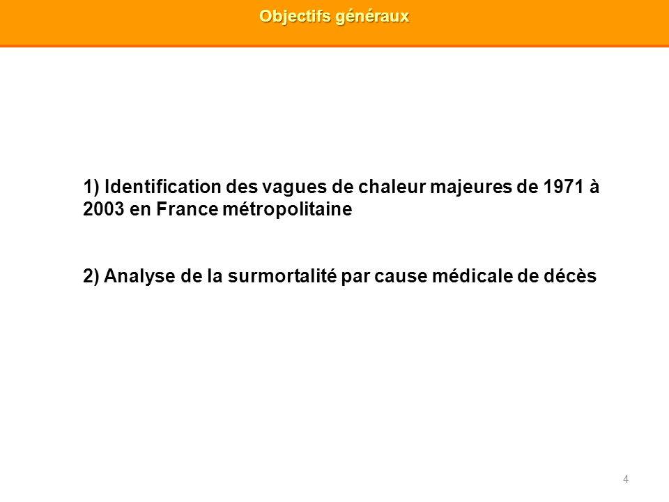 4 Objectifs généraux 1) Identification des vagues de chaleur majeures de 1971 à 2003 en France métropolitaine 2) Analyse de la surmortalité par cause