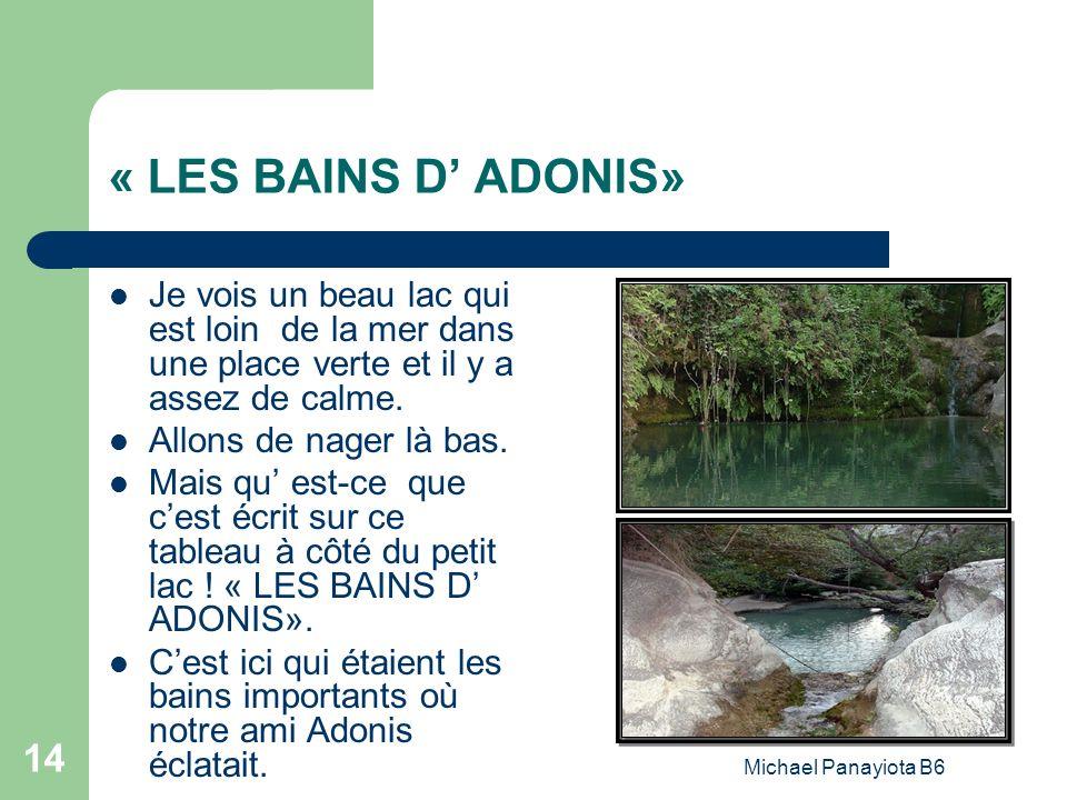 Michael Panayiota B6 14 « LES BAINS D ADONIS» Je vois un beau lac qui est loin de la mer dans une place verte et il y a assez de calme. Allons de nage