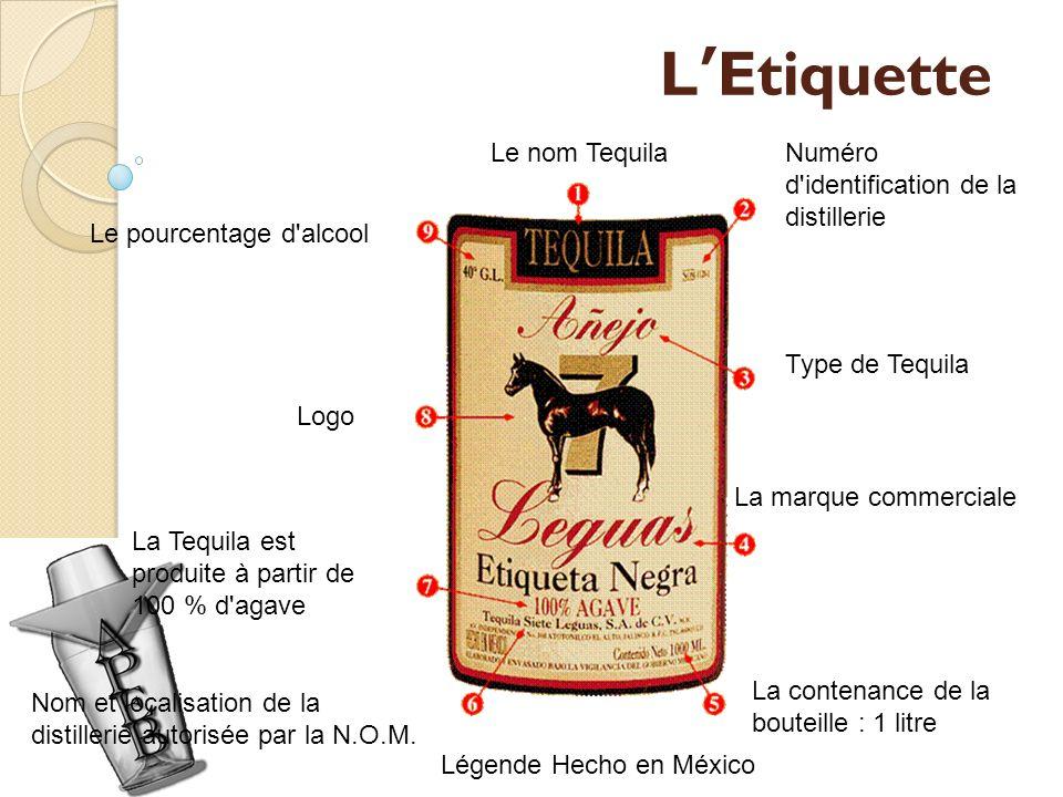 LEtiquette Le nom TequilaNuméro d'identification de la distillerie Type de Tequila La marque commerciale La contenance de la bouteille : 1 litre Nom e
