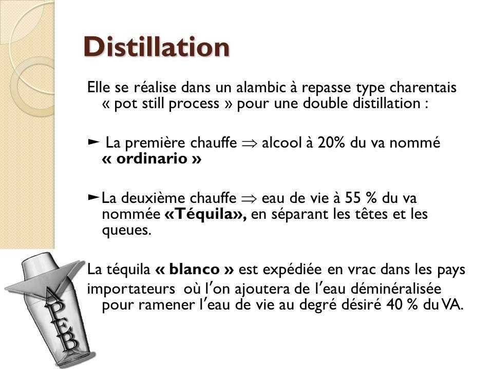 Distillation Elle se réalise dans un alambic à repasse type charentais « pot still process » pour une double distillation : La première chauffe alcool