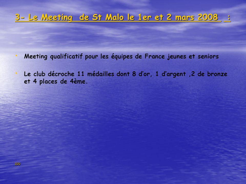 100 3- Le Meeting de St Malo le 1er et 2 mars 2008 : Meeting qualificatif pour les équipes de France jeunes et seniors Le club décroche 11 médailles d