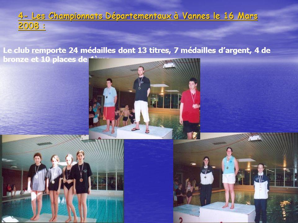 101 4- Les Championnats Départementaux à Vannes le 16 Mars 2008 : 101 Le club remporte 24 médailles dont 13 titres, 7 médailles dargent, 4 de bronze e