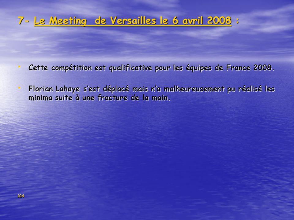 104 7- Le Meeting de Versailles le 6 avril 2008 : Cette compétition est qualificative pour les équipes de France 2008. Cette compétition est qualifica