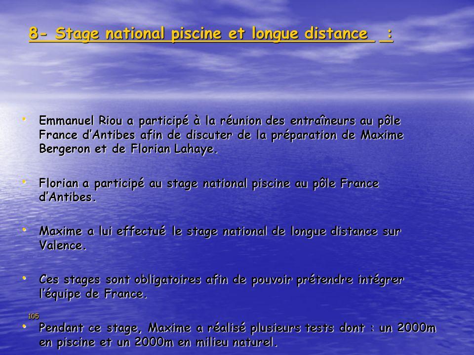 105 8- Stage national piscine et longue distance : Emmanuel Riou a participé à la réunion des entraîneurs au pôle France dAntibes afin de discuter de