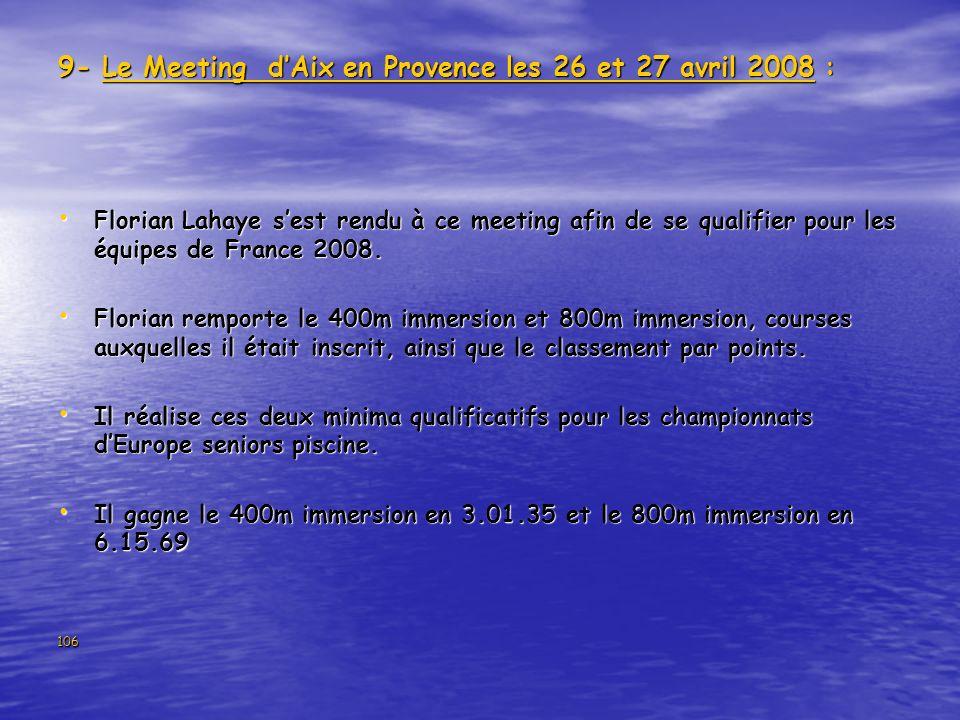 106 9- Le Meeting dAix en Provence les 26 et 27 avril 2008 : Florian Lahaye sest rendu à ce meeting afin de se qualifier pour les équipes de France 20