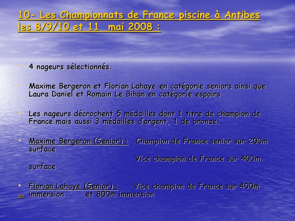 107 10- Les Championnats de France piscine à Antibes les 8/9/10 et 11 mai 2008 : 4 nageurs sélectionnés. 4 nageurs sélectionnés. Maxime Bergeron et Fl