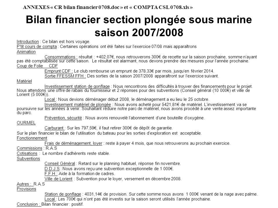 Bilan financier section plongée sous marine saison 2007/2008 Introduction : Ce bilan est hors voyage. Ptit cours de compta : Certaines opérations ont